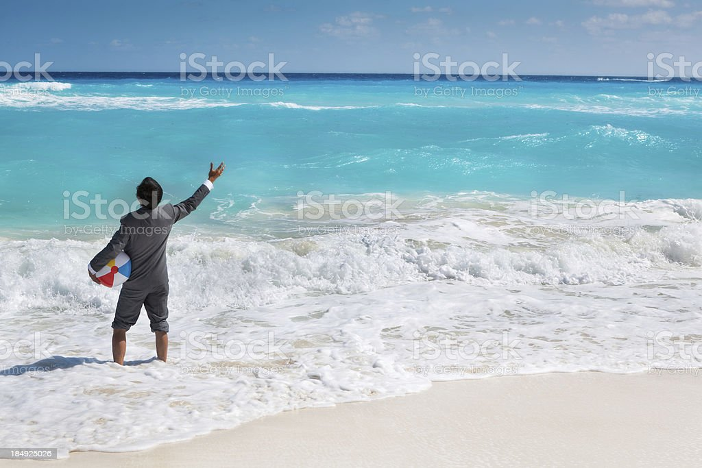 Businessman on Vacation in the Caribbean Beach royalty-free stock photo
