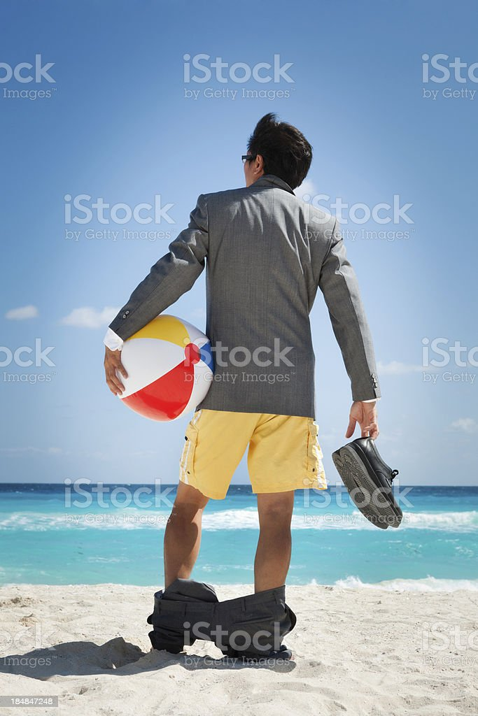 Businessman on Vacation in the Caribbean Beach Vt royalty-free stock photo