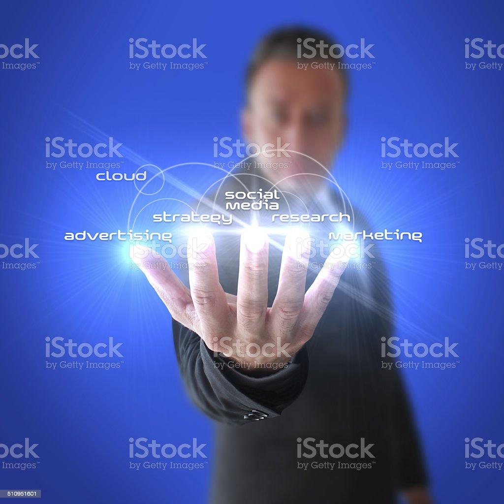 Businessman Open Interactive Hand stock photo
