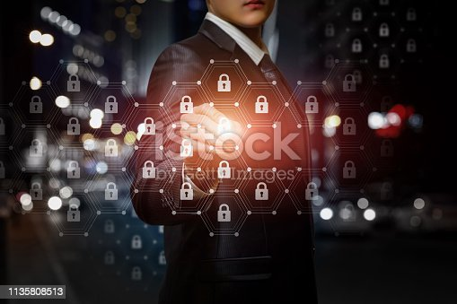 istock A businessman operating with protection system. 1135808513