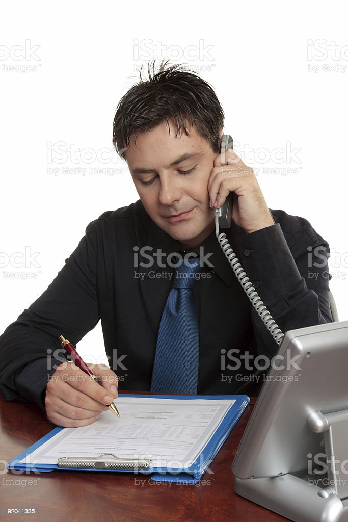 Businessman or doctor filling out form royalty-free stock photo