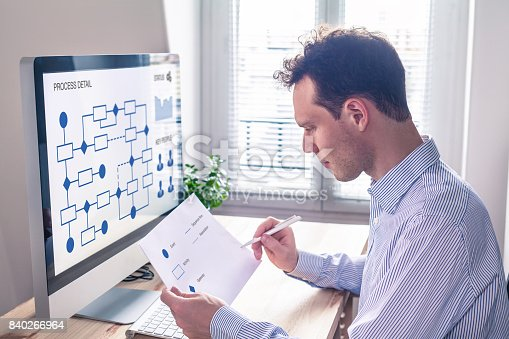 istock Businessman or engineer working on business process automation or algorithm 840266964