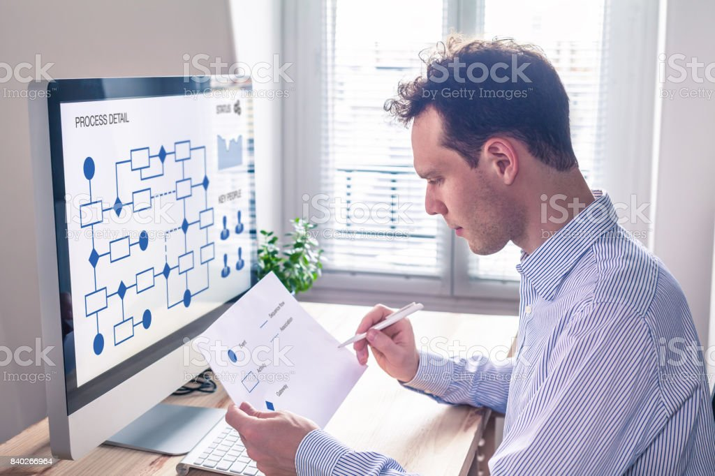Businessman or engineer working on business process automation or algorithm stock photo