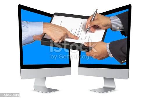 494762574istockphoto Businessman or salesman hand pointing on contract where customer or partner is signing with ballpoint both coming out from computer screen isolated 990479908