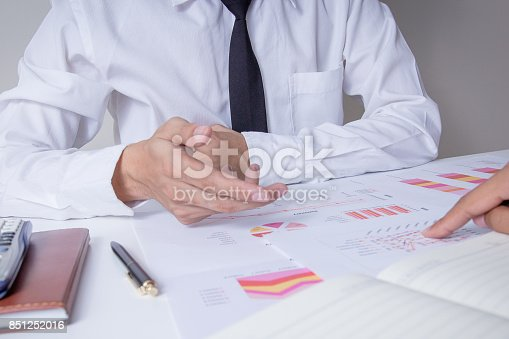 659493026 istock photo Businessman or Team discussing the charts and graphs showing the results of their successful teamwork.Financial reports are set of documents prepared by an administrative team 851252016