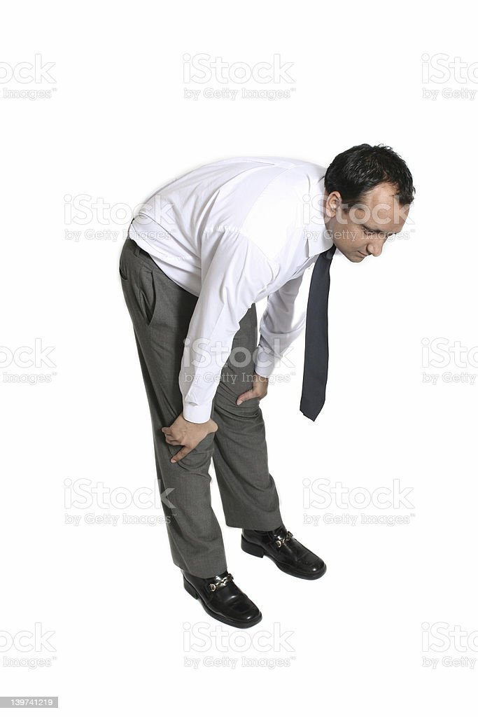 businessman out of breath stock photo