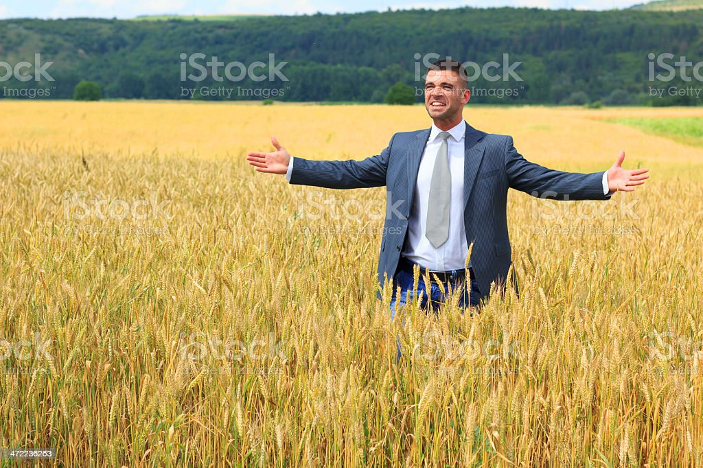 Businessman outside  harvest royalty-free stock photo