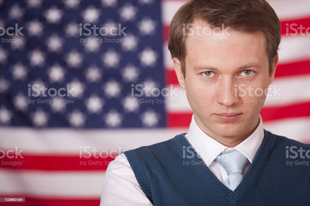 businessman over american flag stock photo