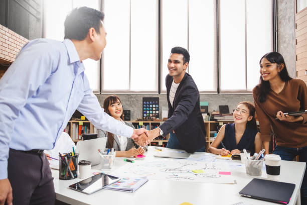 Businessman people shaking hands for  agreement office, teamwork and cooperation concept. stock photo