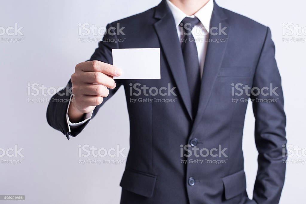 Businessman Pick Business Card: Isolated White Background stock photo