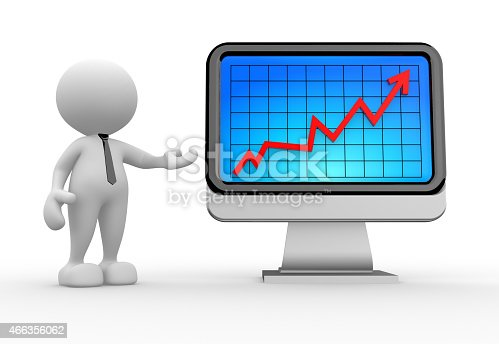 3d people - man, person with financial graph and a monitor. Successful concept