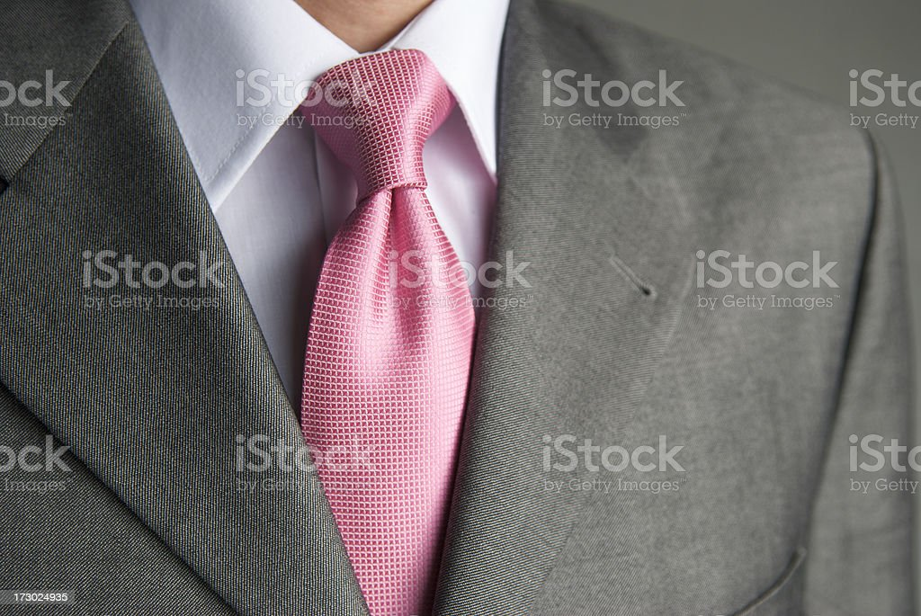Businessman Pink Tie Gray Suit Lapel Business Close-Up stock photo