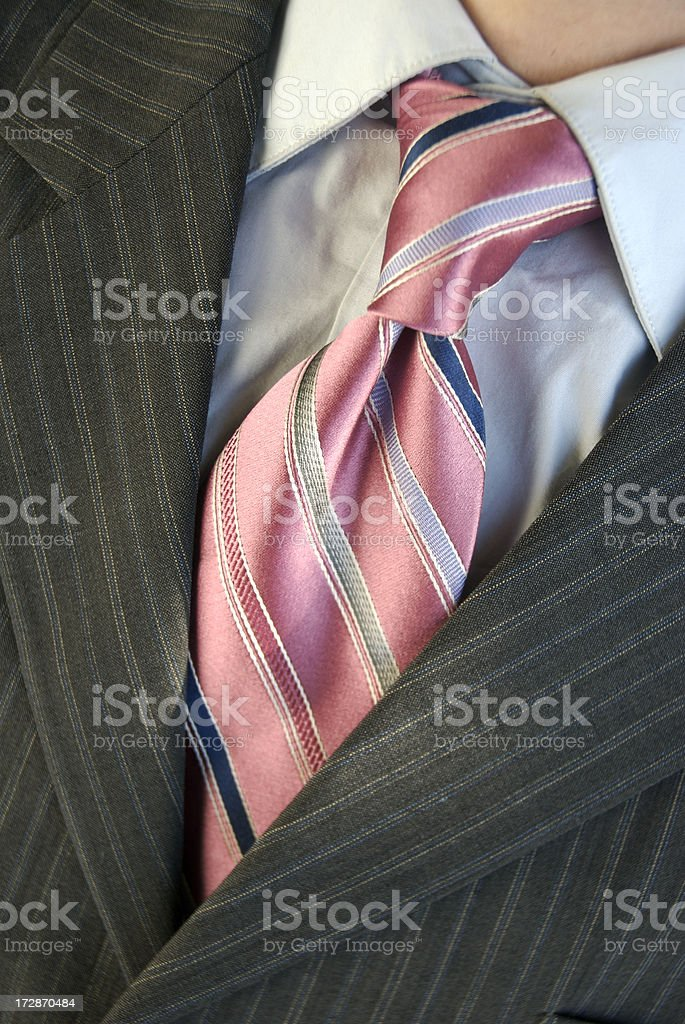 Businessman Pinstripe Suit and Pink Stripe Tie Vertical royalty-free stock photo