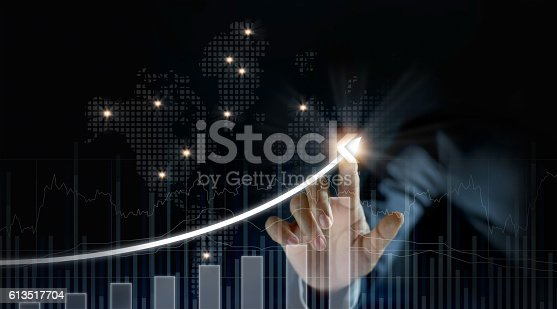 istock Businessman plan growth and increase of positive indicators 613517704