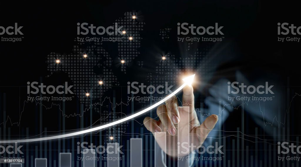 Businessman plan growth and increase of positive indicators stock photo