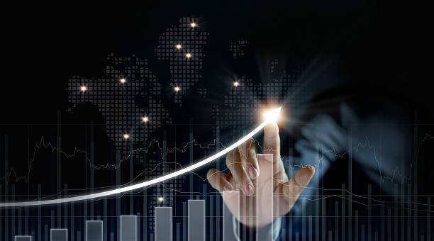 Businessman plan growth and increase of positive indicators - foto de stock