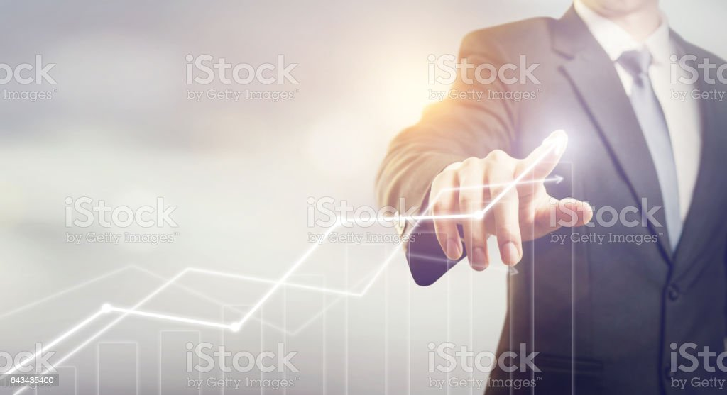 Businessman plan growth concept stock photo