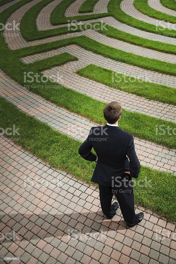 Businessman Planning Strategic Path And Problem Solving