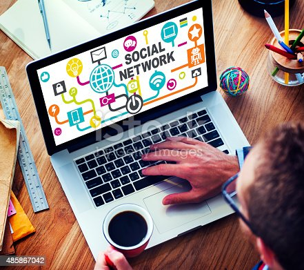 Businessman Planning Strategy Laptop Communication Social Network Concept