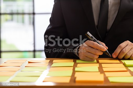 1059655118 istock photo Businessman planning task work with sticky note on table in the office, Scrum board and agile methodology concept 1175644232