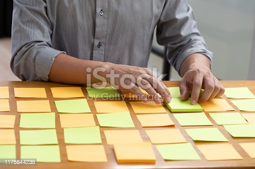 1059655118 istock photo Businessman planning task work with sticky note on table in the office, Scrum board and agile methodology concept 1175644235