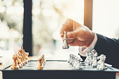 istock Businessman playing chess game Planning of leading strategy successful business leader concept 1037295770