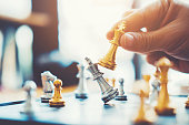 istock Businessman playing chess game Planning of leading strategy successful business leader concept 1065346280
