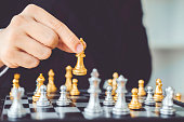 istock Businessman playing chess game Planning of leading strategy successful business leader concept 1089938542