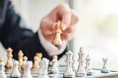 istock Businessman playing chess game Planning of leading strategy successful business leader concept 1160539740