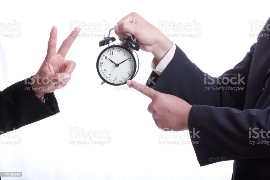 Businessman point clock for order something royalty-free stock photo