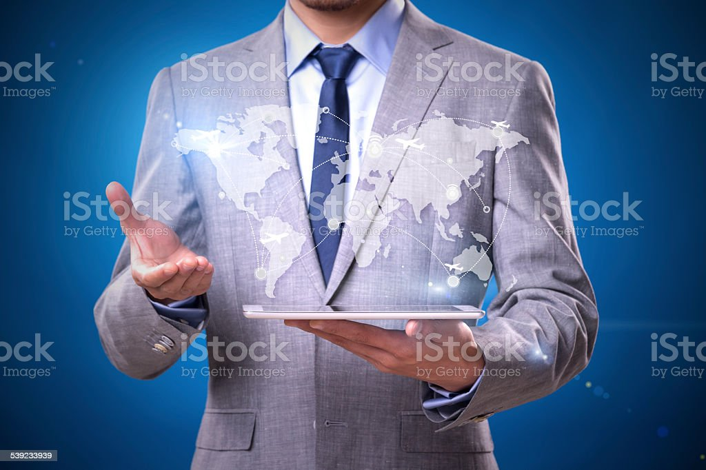 Businessman pointing a social network structure royalty-free stock photo