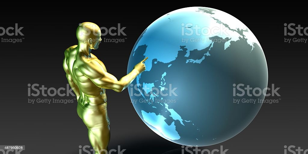Businessman Pointing at Asia stock photo