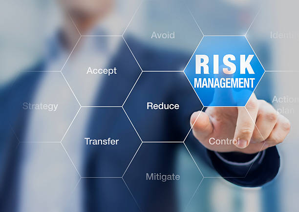 businessman pointing at risk management concept on screen - rischio foto e immagini stock