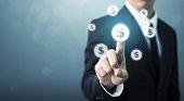 istock Businessman pointing dollar currency icon, Successful money financial investment concept 889849126