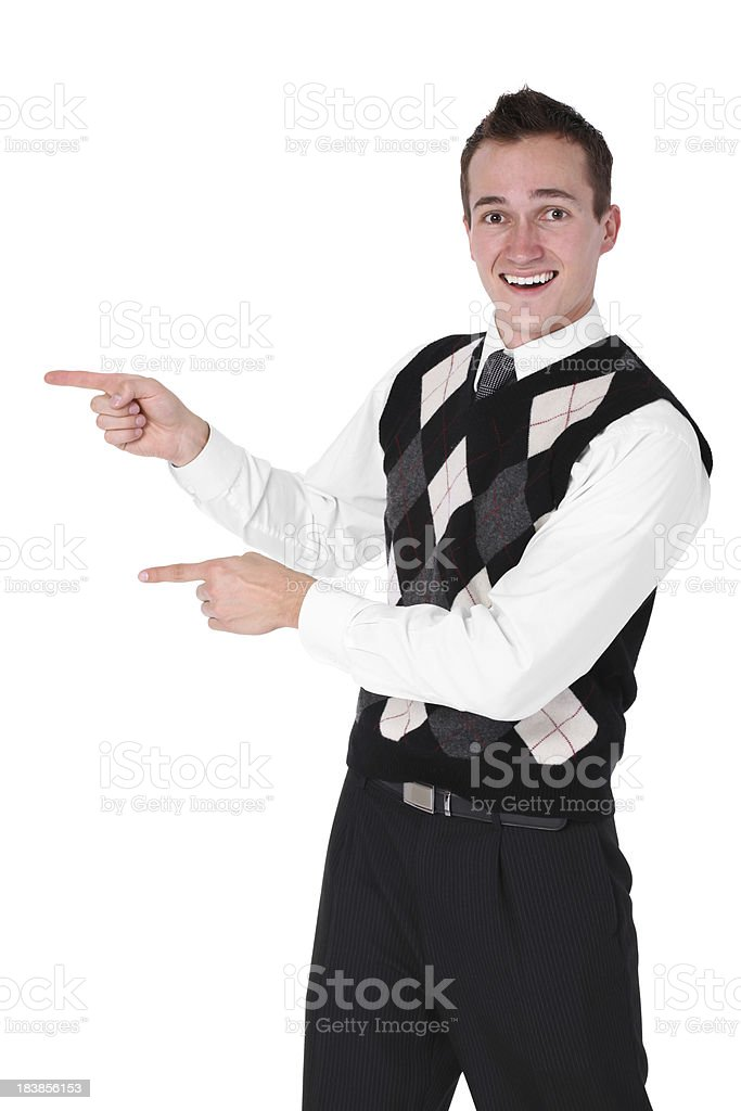 Businessman pointing sideways royalty-free stock photo