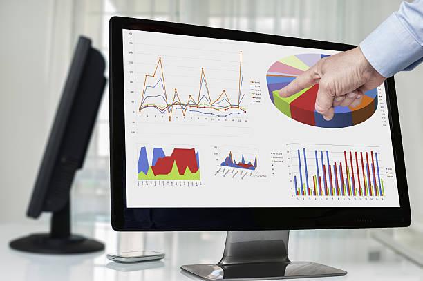 Geschäftsmann zeigt auf eine Grafik auf dem Bildschirm – Foto