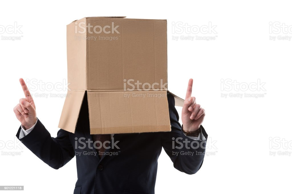 businessman pointing up and have idea stock photo