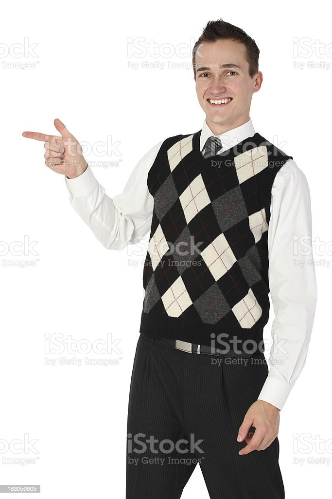 Businessman pointing with finger stock photo