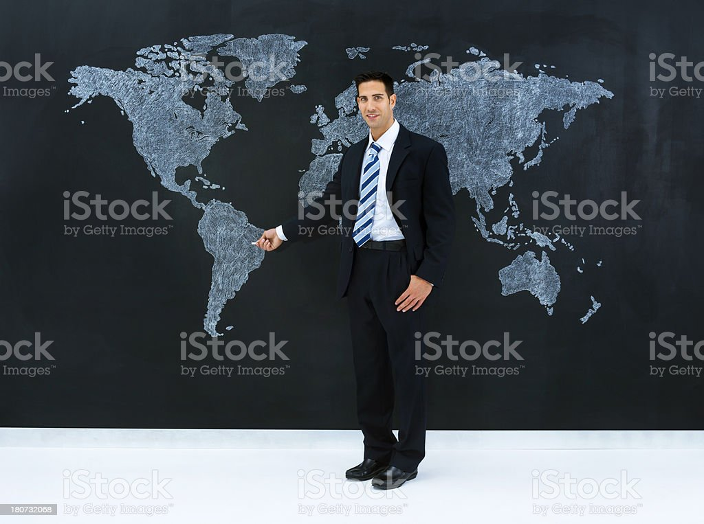 Picture of: Businessman Pointing World Map Brazil Stock Photo Download Image Now Istock