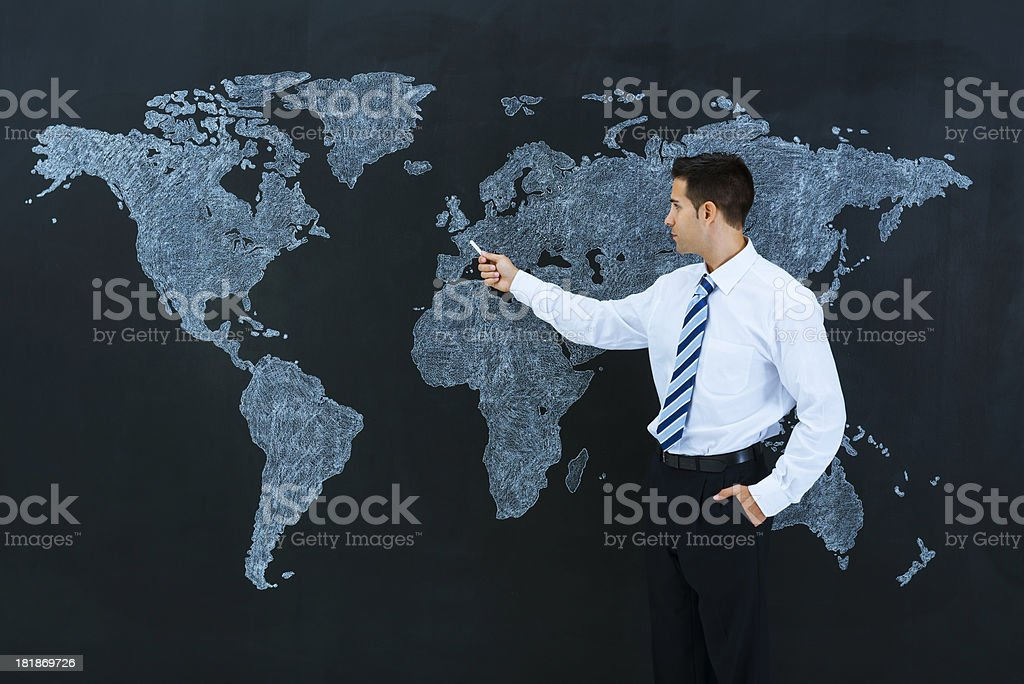 Businessman Pointing World Map Paris France Stock Photo & More ...