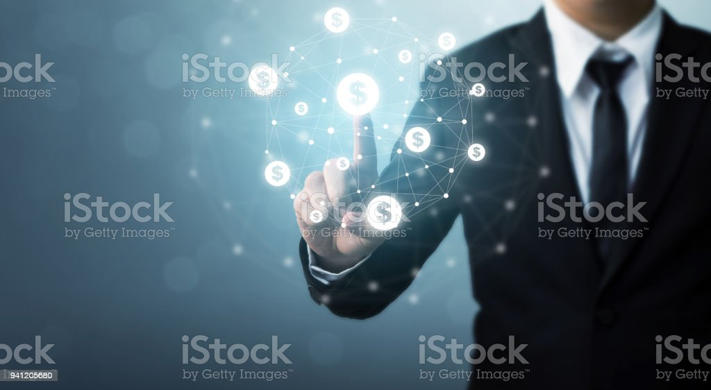 Businessman pointion dollar currency icon, Concept online transaction application for ecommerce and internet investment stock photo