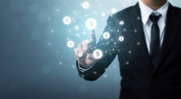 実業家 pointion ドル通貨アイコン、e コマース、インターネットの投資の概念オンライン トランザクション アプリケーション - 柱頭 ストックフォトと画像