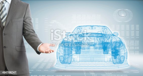istock Businessman points hand on wire frame car 494768247