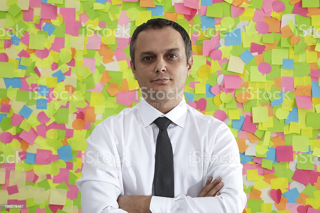 Businessman Portrait With Post It royalty-free stock photo
