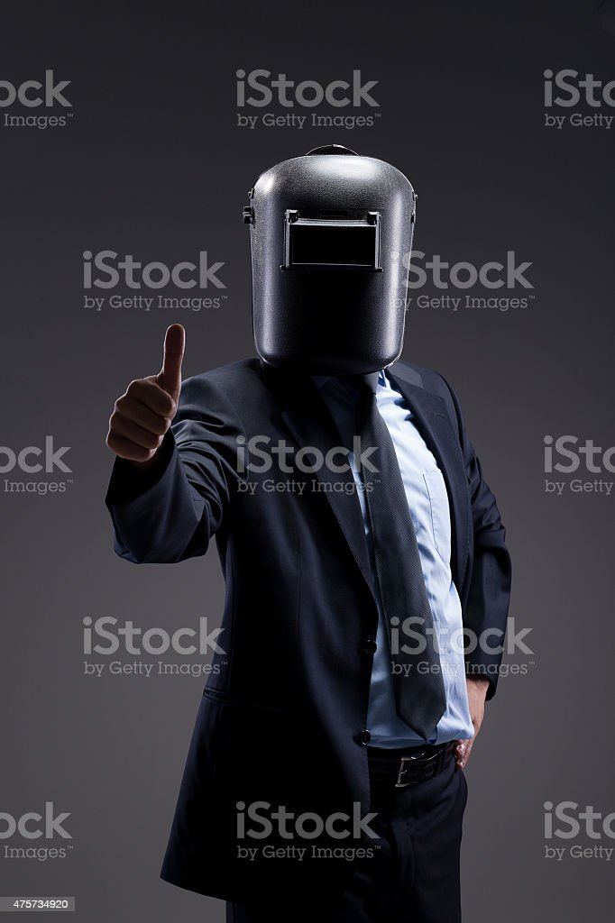 Businessman Portrait with Welding Mask stock photo