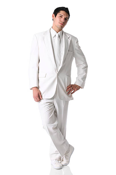 businessman posing - white suit stock photos and pictures