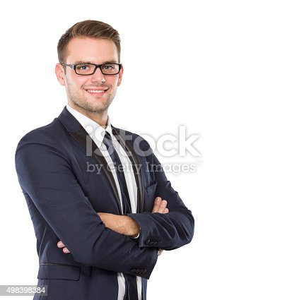 istock Businessman posing, smile, hands crossed 498398384