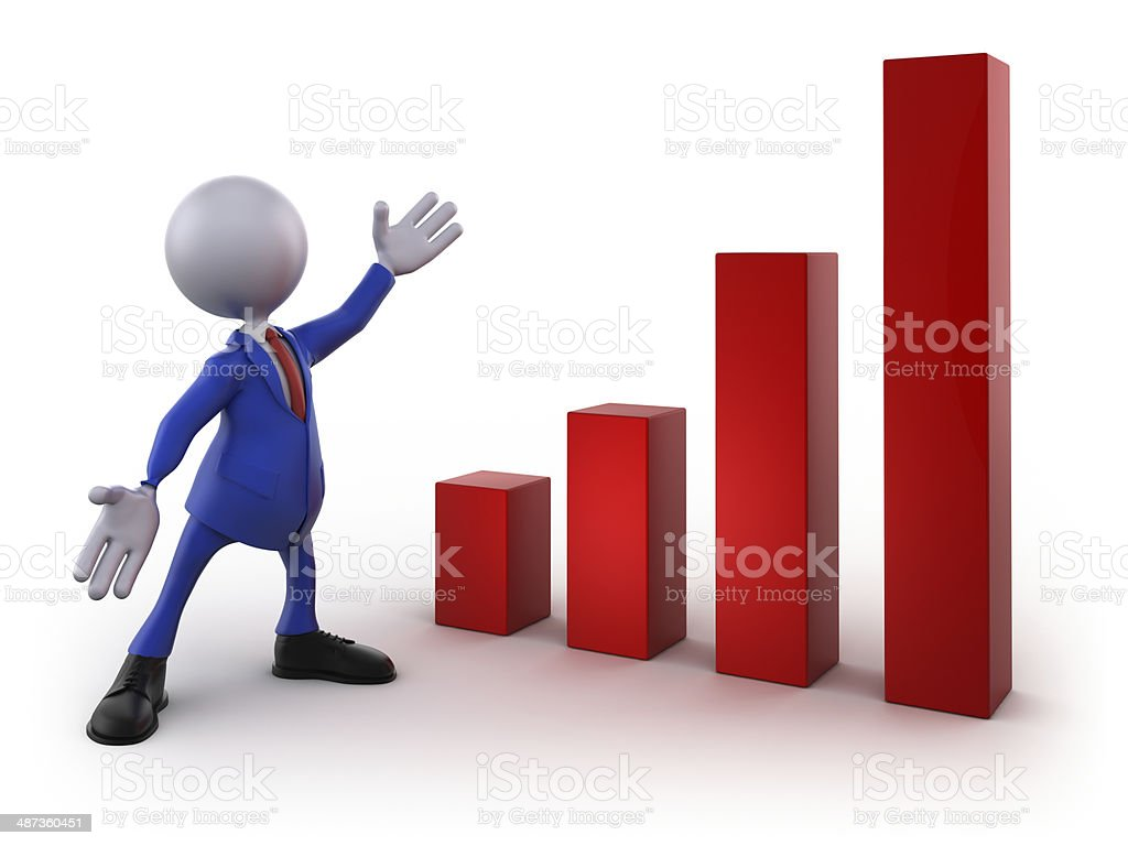 Businessman presentation: Chart, isolated with clipping path royalty-free stock photo