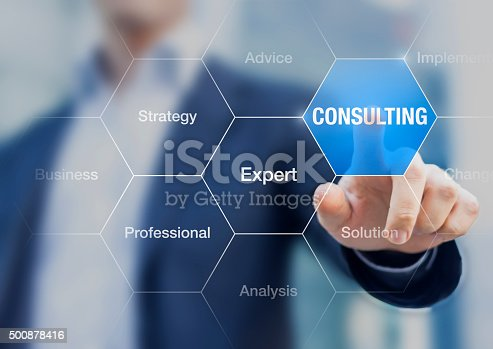 istock Businessman presenting concept about consulting and expert advices 500878416