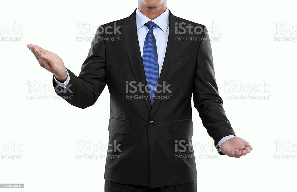 Businessman presenting copyspace stock photo